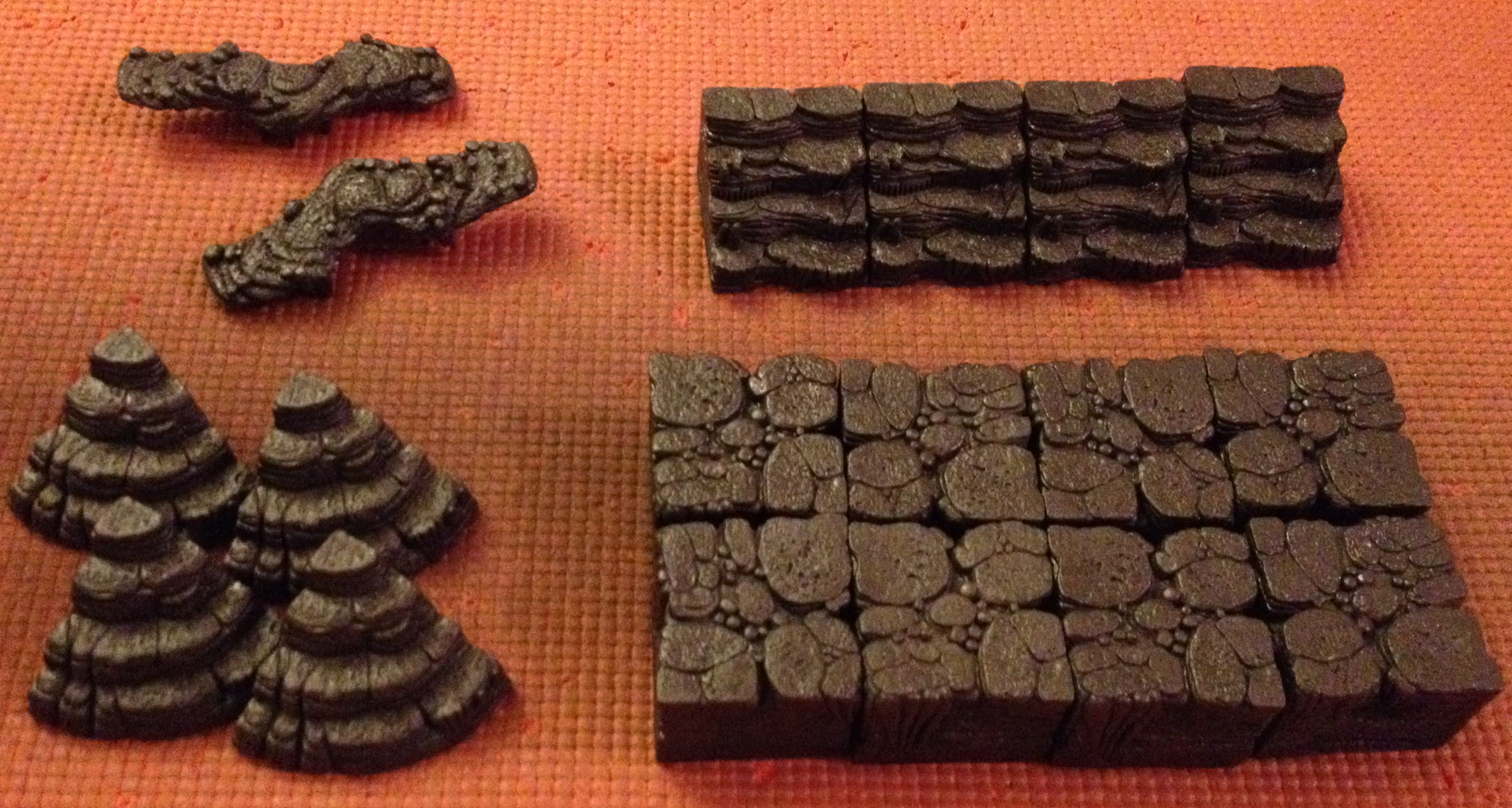 tabletop review dwarven forge cavern tiles lava cavern and next up is the elevation pack this picture shows all the tiles that come in the set there are four sets of steps two narrow bridges a set of curved