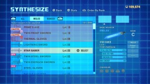 Weapon Synthesize screen